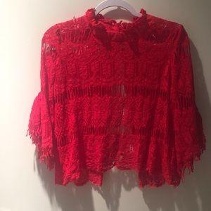 Fashion Nova, Red lace shirt, M